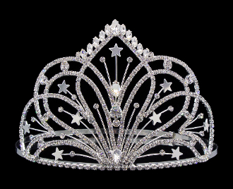 "This ""Radiant Star"" Silver plated Cowgirl hat crown tiara is 5"" tall with rhinestones throughout in a star design for the rodeo queen or royal princess horse show winner sure to catch eyes at any county fair."