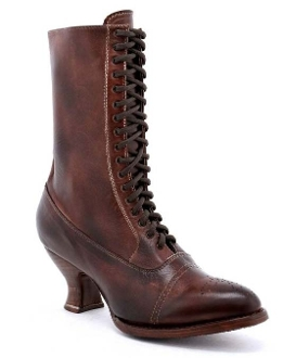 This Mirabelle Teak Leather Womens Granny Boots is the old frontier style boot hand dyed Teak with delicate toe perforation and reinforced grommet front laces. Step out in confidence at an old western wedding or country fair