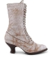 This Mirabelle Nectar Leather Womens Granny Boots is the old frontier style boot hand dyed rustic with delicate toe perforation and reinforced grommet front laces. Step out in confidence at an old western wedding or country fair