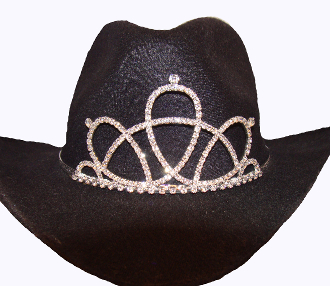 """Princess Daisy"" Rhinestone Cowboy hat tiara is proudly made in the USA for the queen of the rodeo to be crowned by this cowboy hat tiara is an exciting look an any cowgirl competing to be the horse show winner."