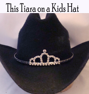 """Little Loping Loops"" Rhinestone Cowboy hat tiara is proudly made in the USA for the Little miss of the rodeo to be crowned by this cowboy hat tiara is an exciting look an any cowgirl competing to be the horse show winner."
