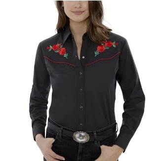 This Red Piped Red Rose womens Black Western Shirt features detailed embroidered red roses complete with western piped yokes and front pockets with retro pearl snaps with matching western shirts