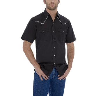 This Mens Ely Short Sleeve White Piped Black Western Shirt has western piped yokes and front pockets with retro pearl snaps