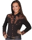 "This ""Big Iron Gunfighter"" Womens Black western shirt by Scully is a popular matching western shirt for his and hers matching shirts with embroidered floral top and back yokes with twisted piping"