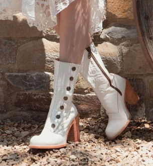 These Amelia off white Leather Button Snap Womens Zip Granny Boots are hand crafted full grain leather made to last perfect old western wedding classic frontier womans wedding boots.