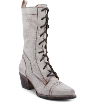 These Baisley Side Zipper Antique White Leather Womens Granny steampunk style Boots hand tooled front lace elegant and regal hand dyed Brown Rustic leather