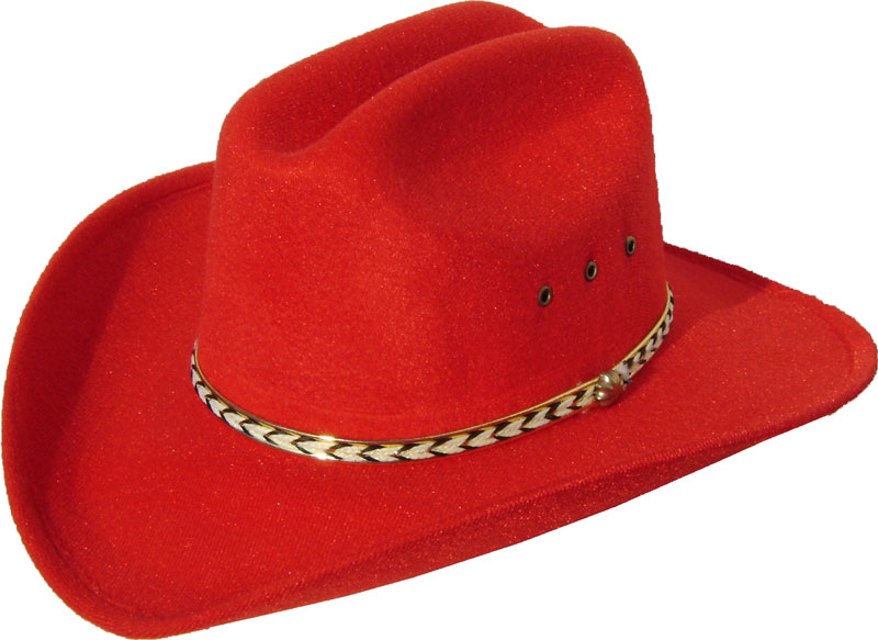 Child Red faux felt traditional cowboy hat af8886bc9488