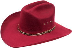 This Adult Maroon Cattleman Faux Felt Cowboy Hat is a hard color to find with cattleman style crown and low priced felt with an easy fitting stretch band inner to make your western day a comfortable one.