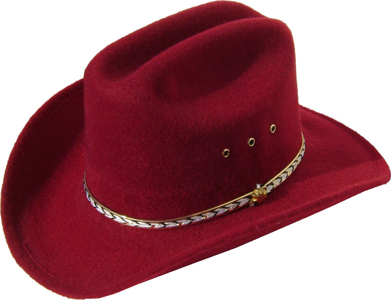 Child Cattleman Maroon faux felt traditional cowboy hat 9d0c700646f