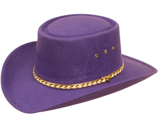 This Adult Sized Purple Felt Gambler Cowboy Hat is Made of faux felt to keep the cost down but not the quality. A stretch band inner fitting to make hat sizes easier for cowboys and cowgirls.