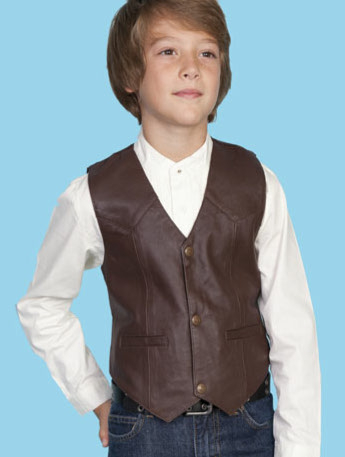 This Scully Kids Brown Lambskin leather Cowboy vest is just like dads and grandpas cowboy vest with lambskin leather perfect for a western wedding or special country outing.