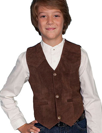 This Scully Kids Expresso Boar Suede Western vest is perfect for a western wedding and matches the mens same boar suede vest just like dads and grandpas cowboy vest.