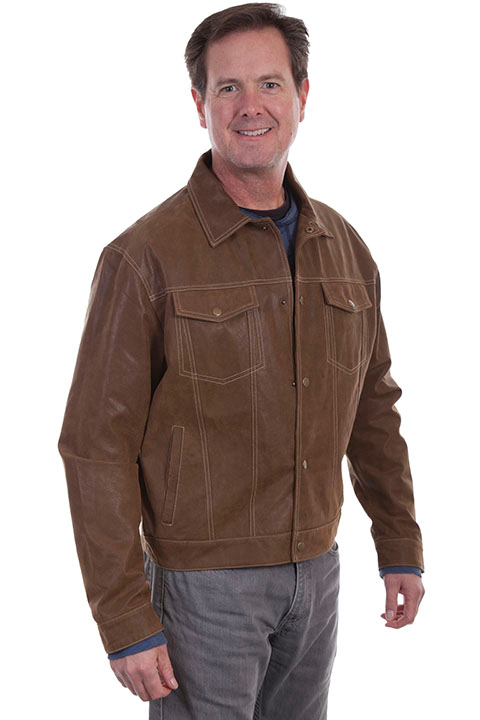 This stylish Scully Mens Maple Western Suede Jean Jacket has snap front closure, two chest flap pockets with snaps and two side entry open pockets and Snap closing cuffs with Acetate lining and inside pockets.