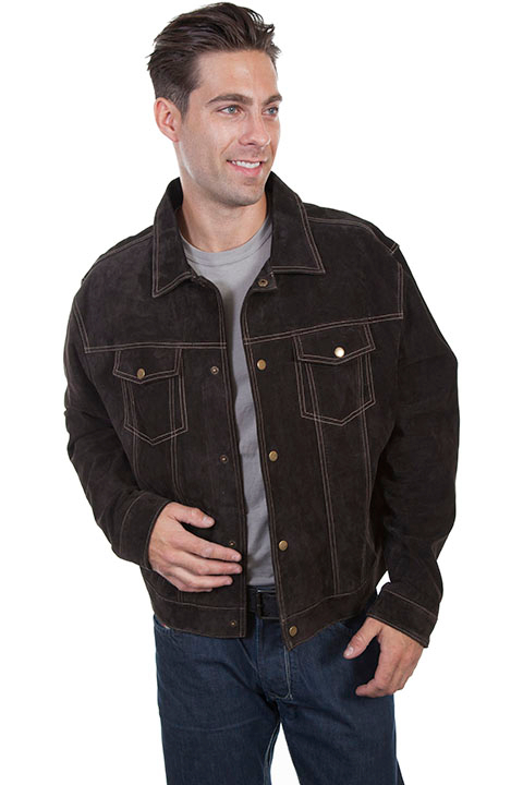 This stylish Scully Mens Brown Western Suede Jean Jacket has snap front closure, two chest flap pockets with snaps and two side entry open pockets and Snap closing cuffs with Acetate lining and inside pockets.
