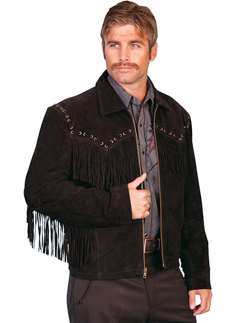 "The ""Jerry"" Mens Scully Whip Stitch Fringe Black Suede Jacket is a retro look for cowboy western lovers with leather fringe and a zip front closure and hand stitches leather yokes on front and back"