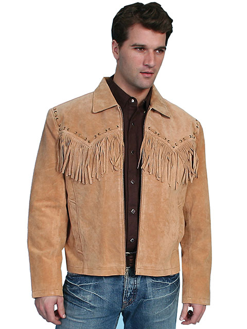 "The ""Jerry"" Mens Scully Whip Stitch Fringe Bourbon Suede Jacket is a retro look for cowboy western lovers with leather fringe and a zip front closure and hand stitches leather yokes on front and back"