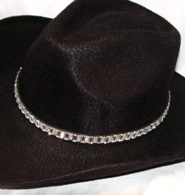 This Black Leather Rectangle Rhinestone Cowgirl Hat Band with Buckle has large rhinestones and crystals throughout complete with a belt buckle closure a great western hat band for cowgirls.