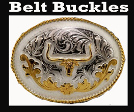 See all the shapes and sizes of the western belt buckles for men, women, and kids sizes too. These western buckles are usually made in silver and gold accents in horse head and horseshoe designs as well as longhorns and now the mini guns.