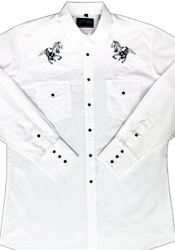 This Kids Horse Embroidered White Western Shirt is just like dad's or grand-dad's shirt with the same quality to match. Kids sized cowboy shirt with horse embroidered and peal snaps.