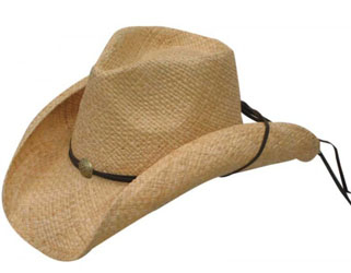 This Adult Natural Raffia straw cowboy hat with Draw string is a cool modern cowboy look with a light weight straw hat easy to take on a trip or wear to a country music concert with a draw string that can be used to hold tight.