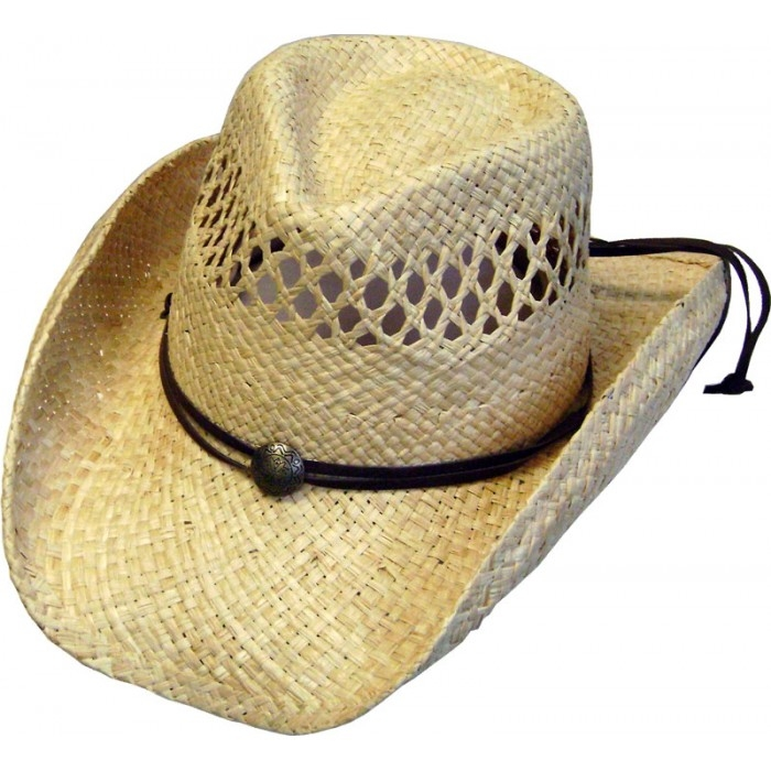 This Kids Natural Vented Straw Rafia cowboy hat comes with a draw string for a cool modern cowboy look with a light weight straw hat easy to shape for any western flair.