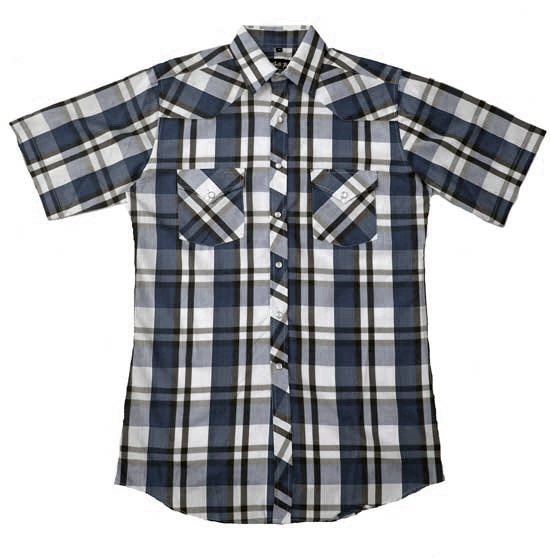 Mens Blue and White plaid short sleeve western shirt, mens blue short sleeve shirt, mens pearl snap shirt, mens blue western short shirt