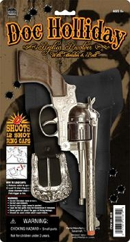 "The Doc Holliday Solid Die Cast Metal Replica Toy gun is an 11"" long Solid Die Cast Metal pistol a throwback from the looks of the old west with real working parts that fires 12 shot ring caps."