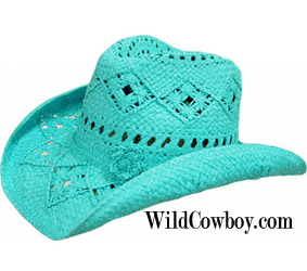 This Adult Turquoise Flower Toyo Straw Cowgirl Hat fits perfect with its inner stretch band fitting on this shape-able brim hat and the cool open venting on this turquoise straw hat