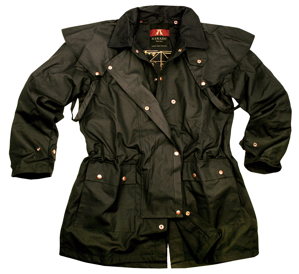 """Workhorse Jacket"" Kakadu Oilskin Black Duster Jacket, black oilskin jacket, kakadu duster, waterproof duster, duster jacket, oilskin duster coats, oilskin jackets, oilskin coats"