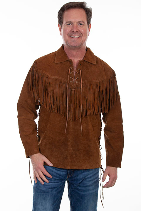 This Scully Mens Cafe Brown suede western fringe Daniel Boone shirt features full leather fringe just like Daniel Boone a total vintage old frontier cowboy look or davey crocket shirt