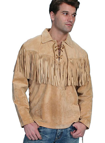 This Mens Scully Bourbon suede western fringe Daniel Bone shirt features full leather fringe just like Daniel Boone a total vintage old frontier cowboy look or davey crocket shirt