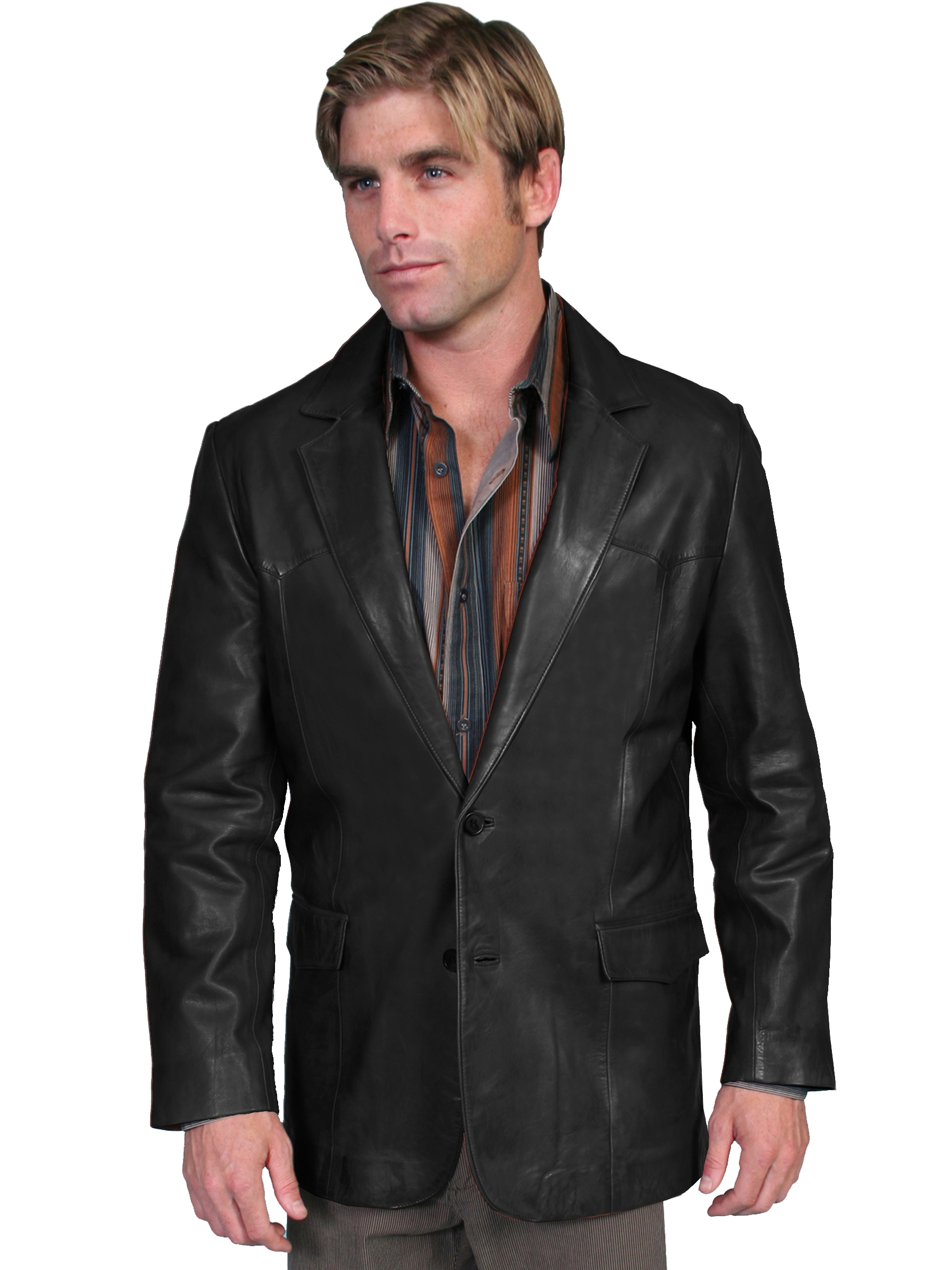 This Mens Scully Black lambskin Western blazer comes in long and extra long sizes for mens big n tall cowboys
