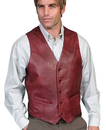 This Mens Scully Lambskin Leather Traditional Cherry Western Vest has a 5 button front and 2 front pocket with single point western yokes & an inner pocket with soft Acetate lining, a true cowboy vest for men.