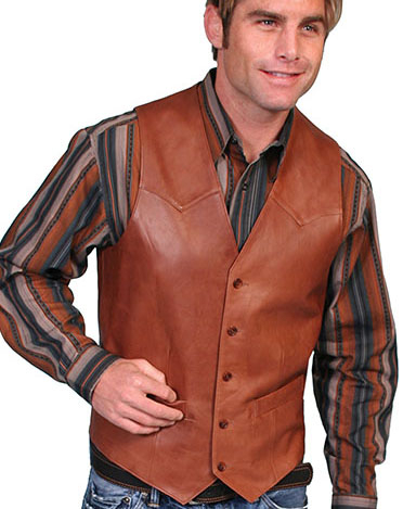 This Mens Scully Lambskin Leather Traditional Antique Western Vest has a 5 button front and 2 front pocket with single point western yokes & an inner pocket with soft Acetate lining, a true cowboy vest for men.