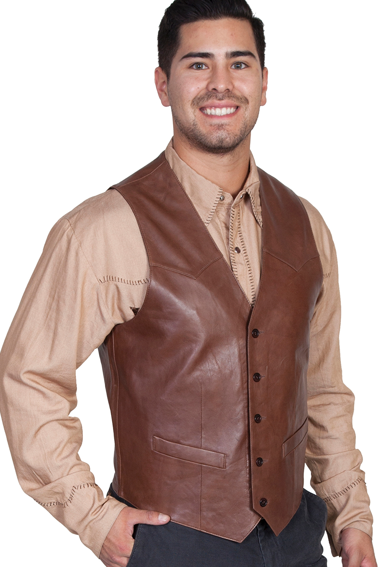 27a069d9edb Mens Scully Lambskin Leather Chocolate Brown Western Vest