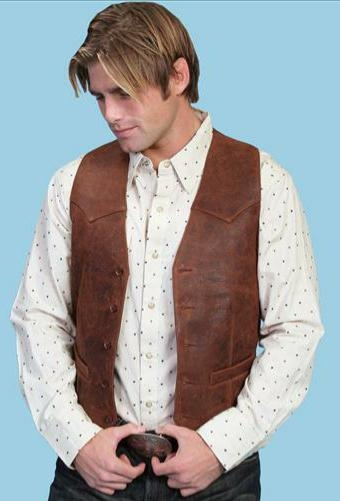 This Mens Scully Lambskin Leather Distressed Brown Western Vest has a 5 button front and 2 front pocket with single point western yokes & an inner pocket with soft Acetate lining, a true cowboy vest for men.