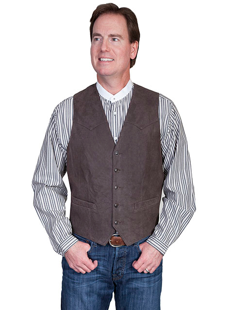 This Mens Scully Lambskin Leather Antique Brown Western Vest has a 5 button front and 2 front pocket with single point western yokes & an inner pocket with soft Acetate lining, a true cowboy vest for men.