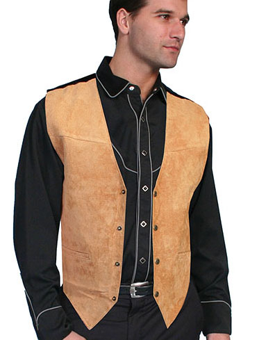This Scully Mens Bourbon Boar Suede Western Dress Vest is the perfect wedding vest for men also available in matching for kids and economically priced to please the bride and yet a perfect cowboy look