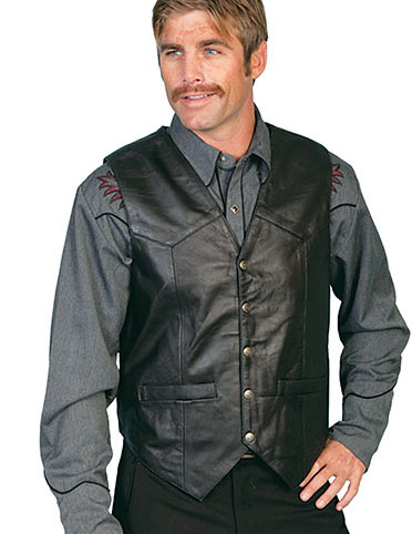 This Mens Scully Black Lambskin Snap Front Classic Western Vest has 5 western star silver snaps in front with 2 frontal pockets all in a vintage cowboy look with soft touch leather and inner lining.