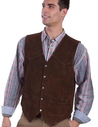 Mens Scully Brown Calf Suede Snap Front Classic Western Vest