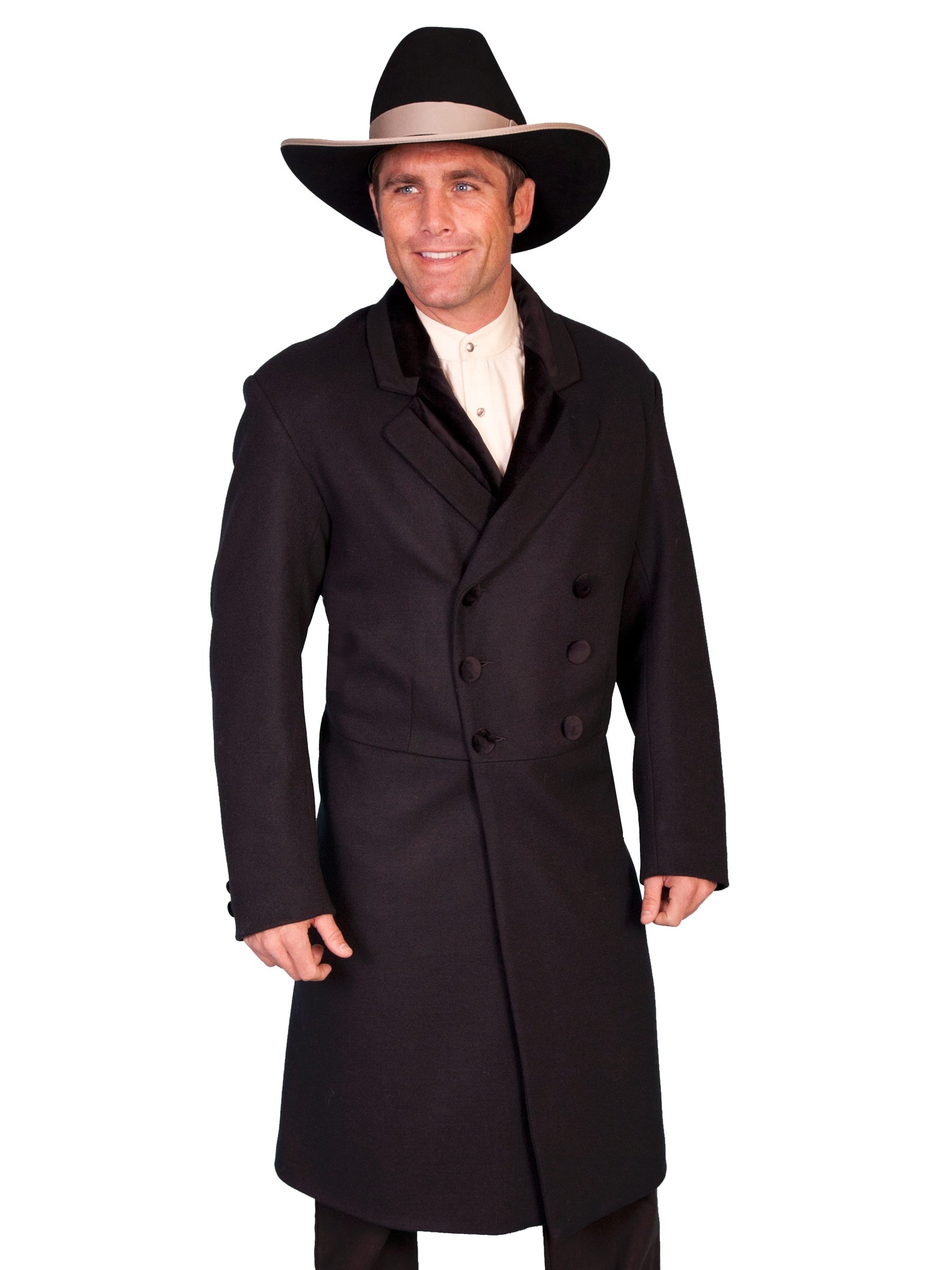 USA Made 100% Wool Mens Black Velvet Double Breasted Frock Coat