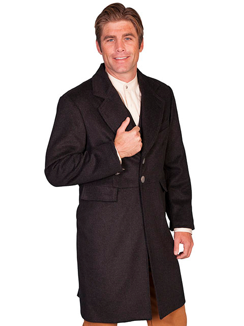 This Mens Scully USA Made 3/4 Long Heather Black Wool Frock Coat has notched lapels with a 2 button closure &b 2 lower front flap pockets, left chest pocket & inside chest pocket.The back features 2 metal buttons