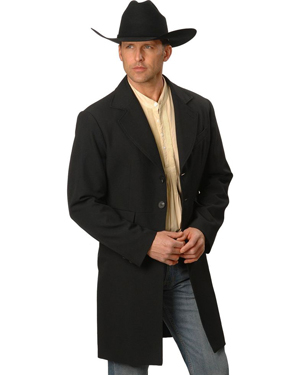 This Mens Scully USA Made 3/4 Black Frock Coat has black buttons on front, back and cuffs, inside breast pocket and side front flap pockets with Matching pants available. this is a Wool and polyester blend, Fully lined.