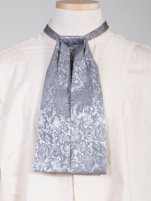 The Scully Grey jacquard silk Puff Tie is a classic old frontier or old west look to it made with quality material in the USA with matching vests available.
