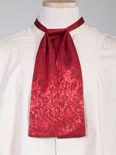 The Scully Red jacquard silk Puff Tie is a classic old frontier or old west look to it made with quality material in the USA with matching vests available.