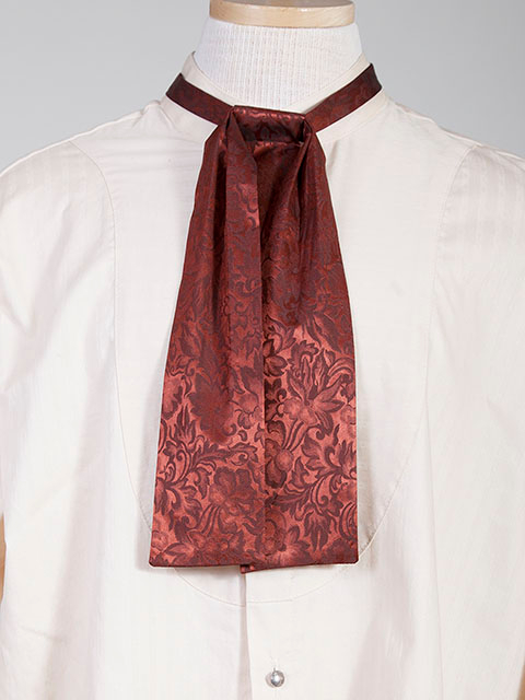 The Scully Rust jacquard silk Puff Tie is a classic old frontier or old west look to it made with quality material in the USA with matching vests available.