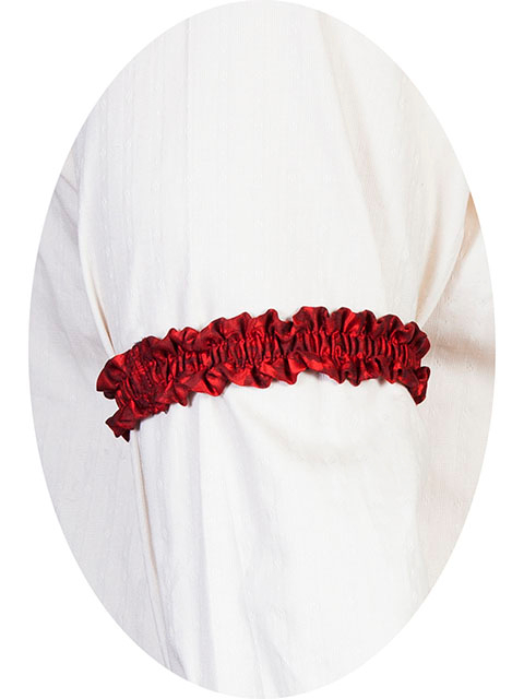This Scully Wahmaker red Sleeve Garter is made in the USA a perfect gambler style wedding Armband for your shirt sleeve that matches the 19th century old frontier paisley mens vests