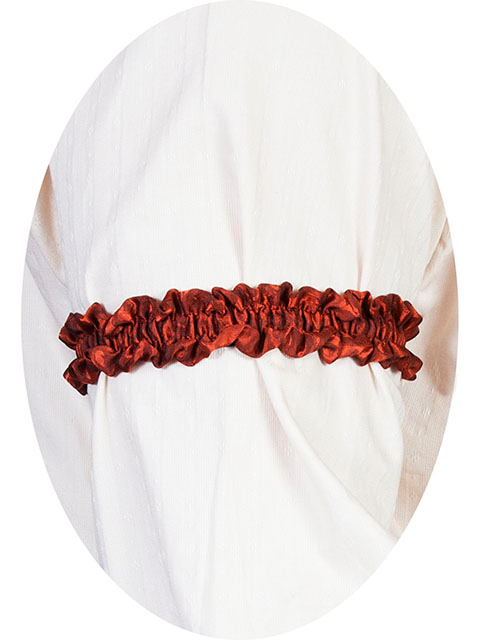 This Scully Wahmaker rust Sleeve Garter is made in the USA a perfect gambler style wedding Armband for your shirt sleeve that matches the 19th century old frontier paisley mens vests