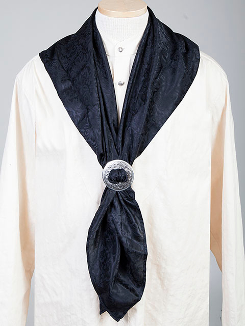 "This Authentic silk jacquard black scarf was made in the USA. It is 40""x 40"" and goes perfect with your old west attire. This gentlemens jacquared scarf is made of fine quality China Silk in the USA"
