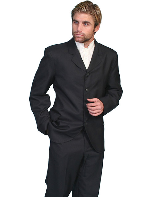 This handsome Mens Scully USA Made Black Classic Gent Coat is a wool blend coat with classic high button front, notched lapels, 4 button front, 2 front flap pockets and an inside breast pocket.